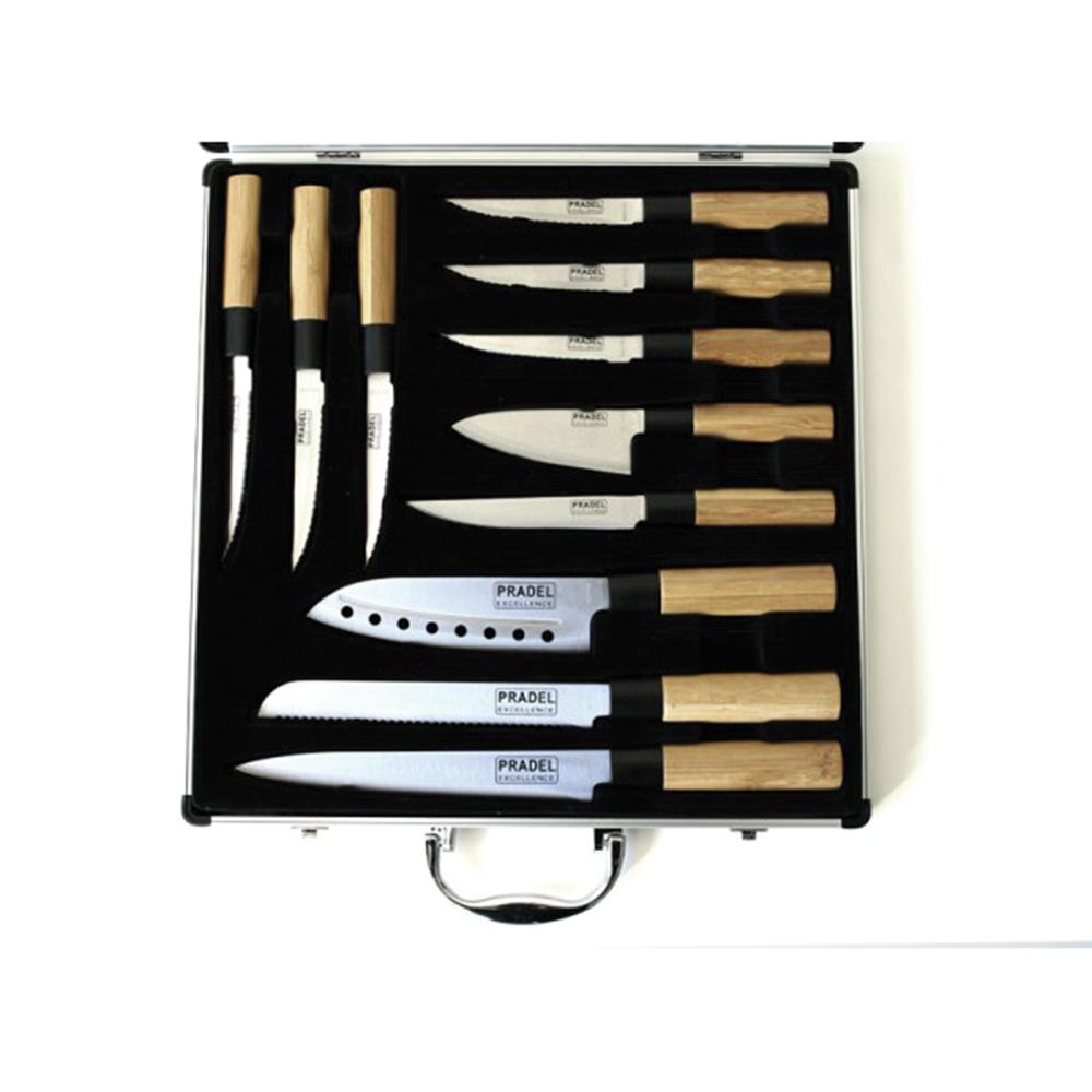 ducatillon valise vitrine de 11 couteaux manches bambou cuisine. Black Bedroom Furniture Sets. Home Design Ideas