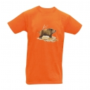 Tee-shirt Orange Sanglier Solitaire  Bartavel®