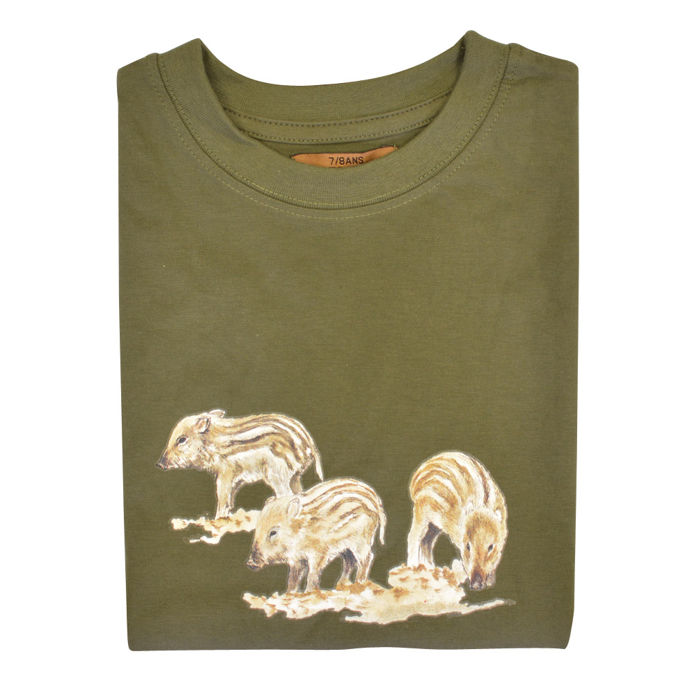 0261dd42c24c5 Tee-shirt Enfant kaki Bartavel® Marcassins - Chasse - Ducatillon