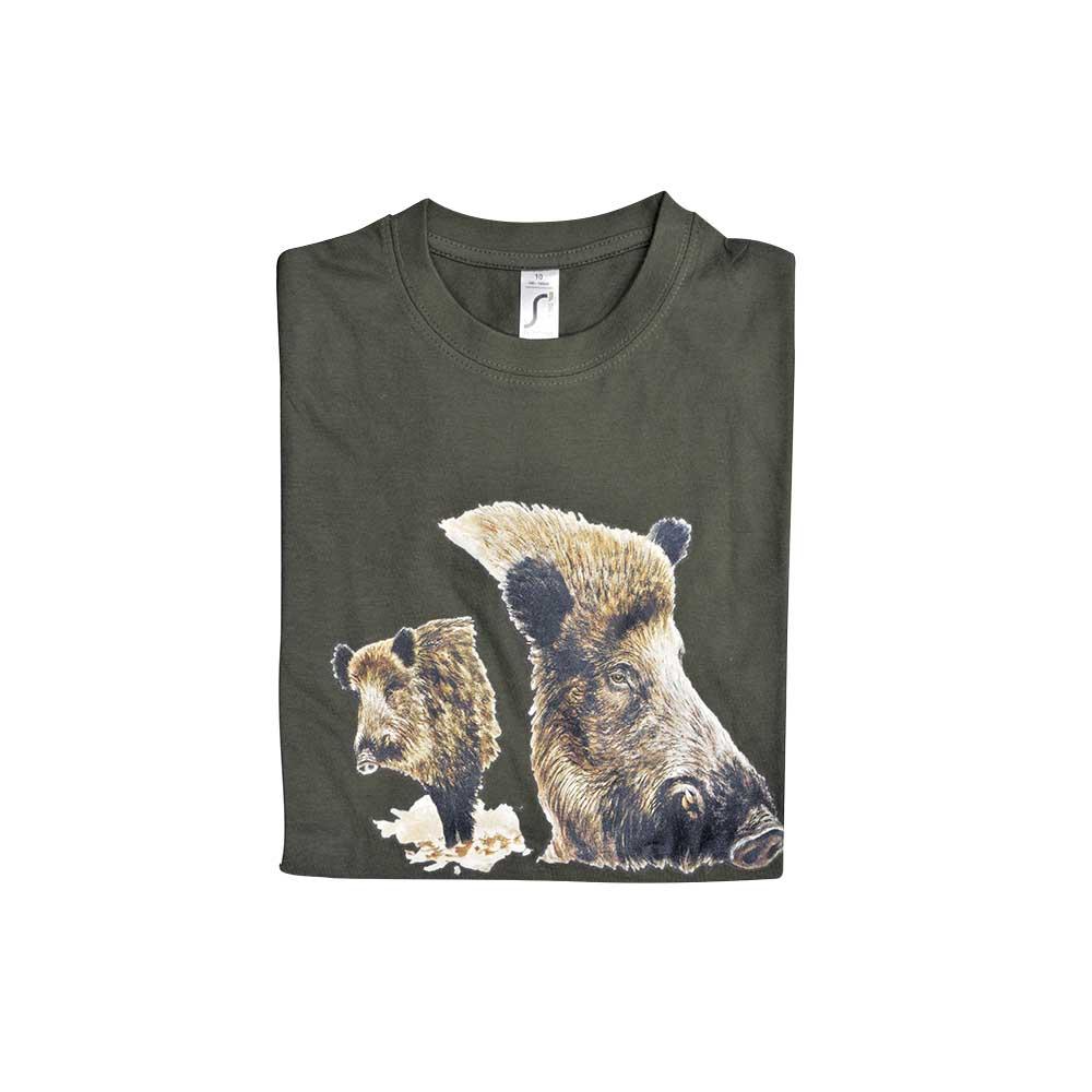 134094f512478 Tee-shirt Enfant kaki Bartavel® Sanglier - Chasse - Ducatillon