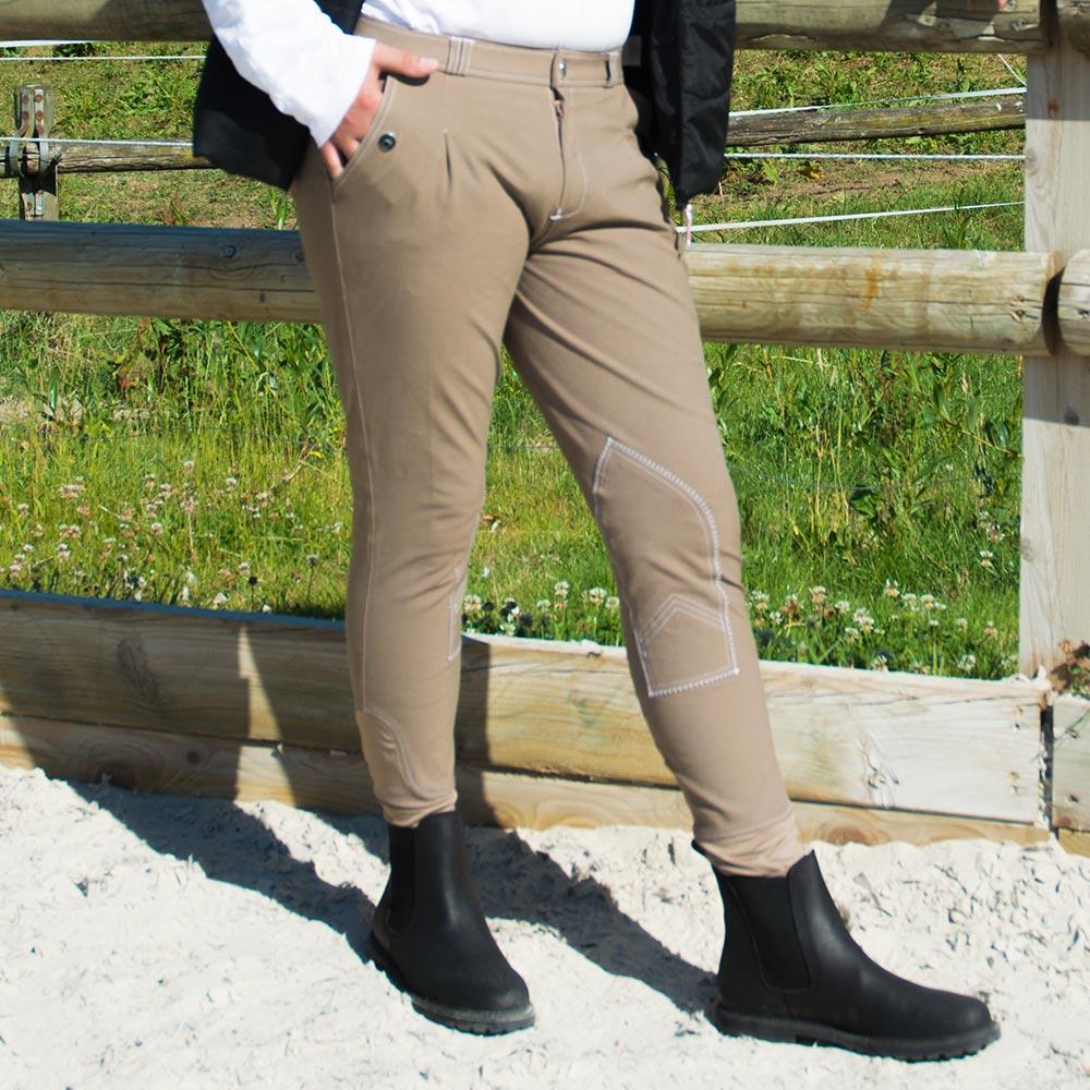 Pantalon équitation Homme à Pinces Taupe