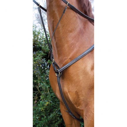 Collier chasse double / havane fonce/ poney