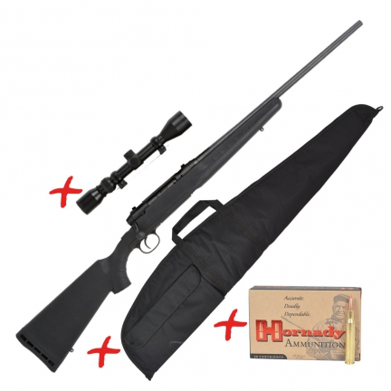 Carabine Filetée Gaucher cal.243 WIN Savage® Axis + fourreau + lunette + 20 balles