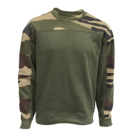 Sweat col rond kaki + empiècements camo CE